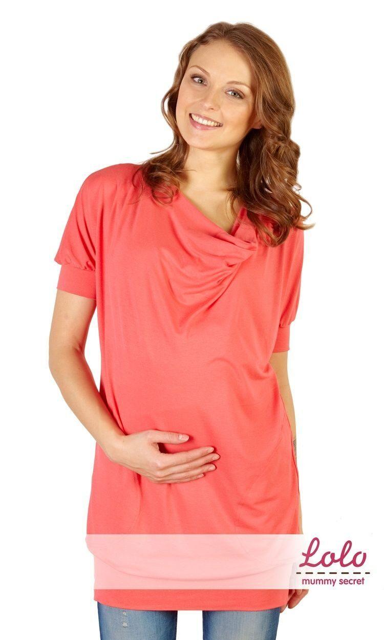 Туника для беременных и кормящих с коротким рукавом, коралловая 0160227dac5