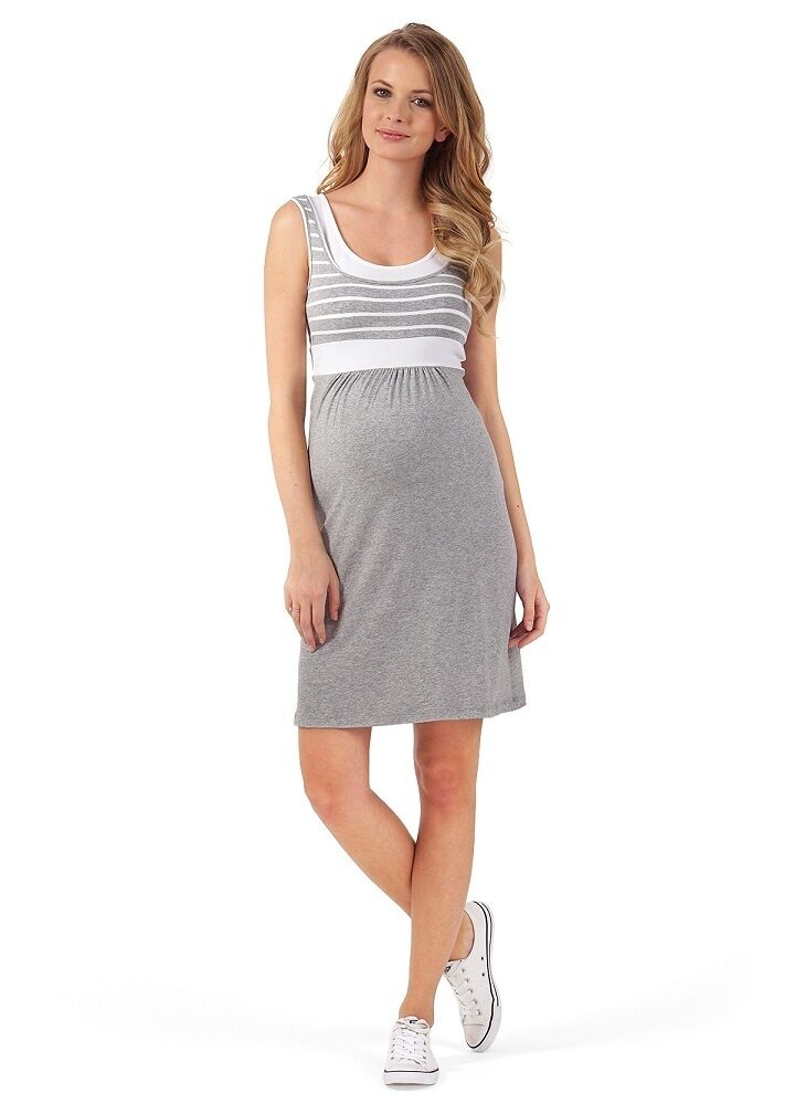 Платье для беременных и кормящих Триколор, серый меланж белое 379e7e549e0